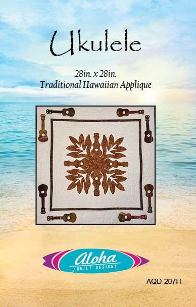 Ukulele Hawaiian Applique Quilt Kit -Laser Cut Hand Applique