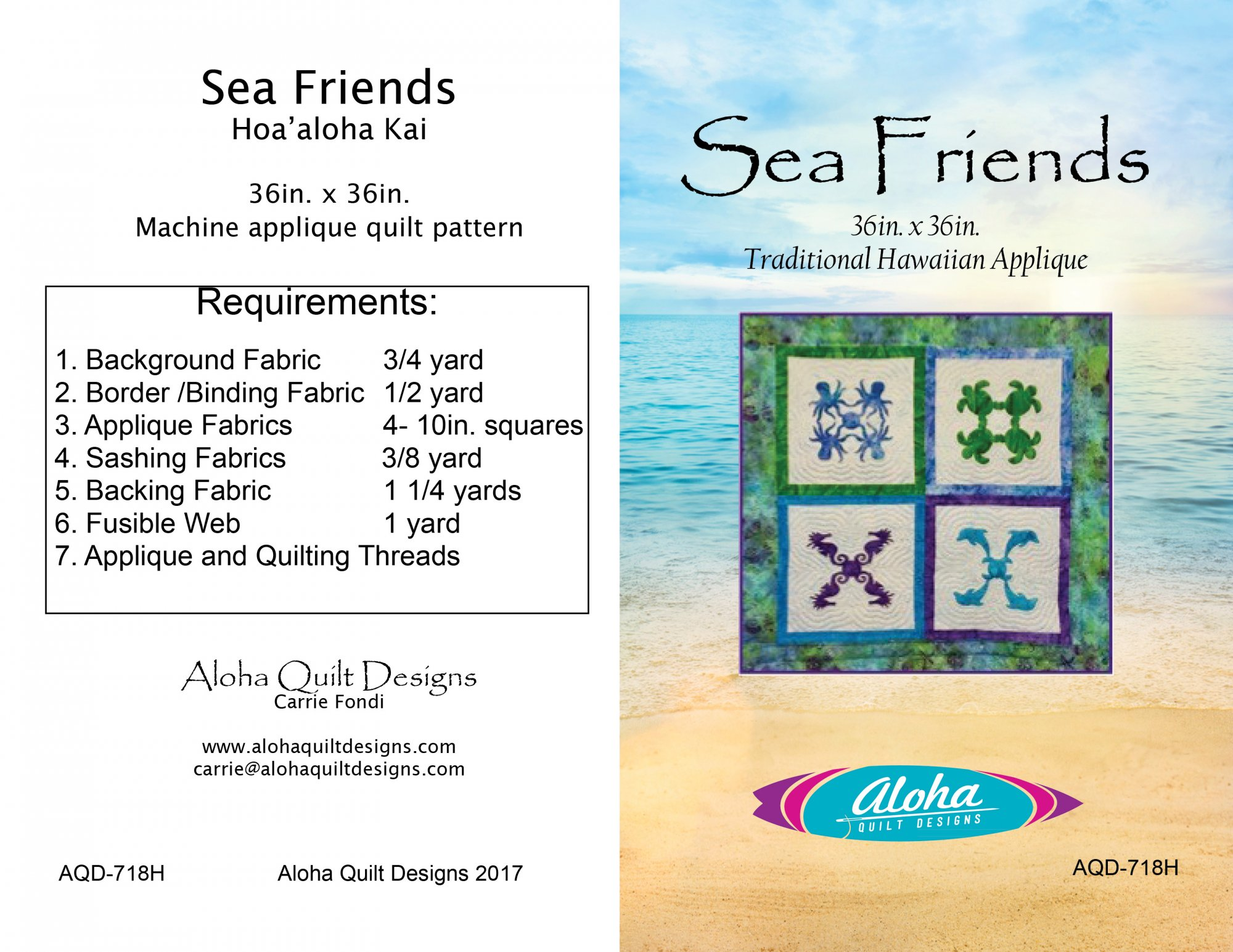 Sea Friends Fusible Applique Hawaiian Quilt Digital
