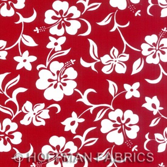 Pareau Red White Hawaiian Print