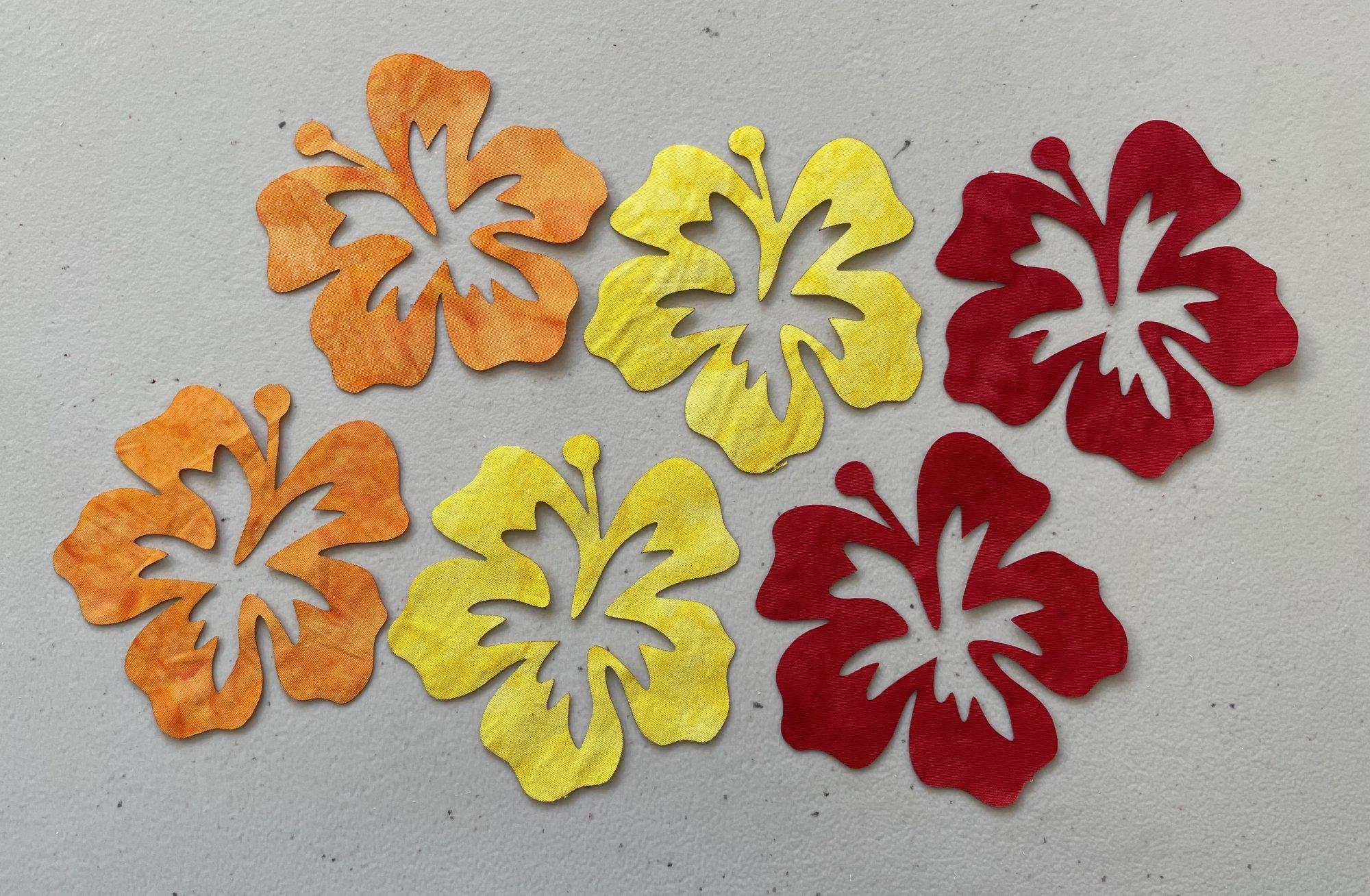 5in. Hibiscus Fusible Appliques Multi color