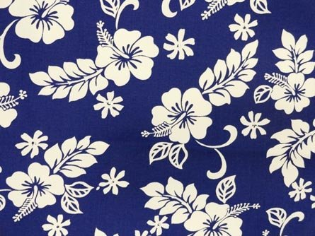 Blue Pareau Hawaiian Fabric