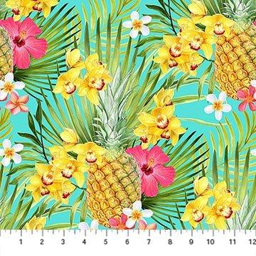 Island Sun Pineapple Floral Aqua