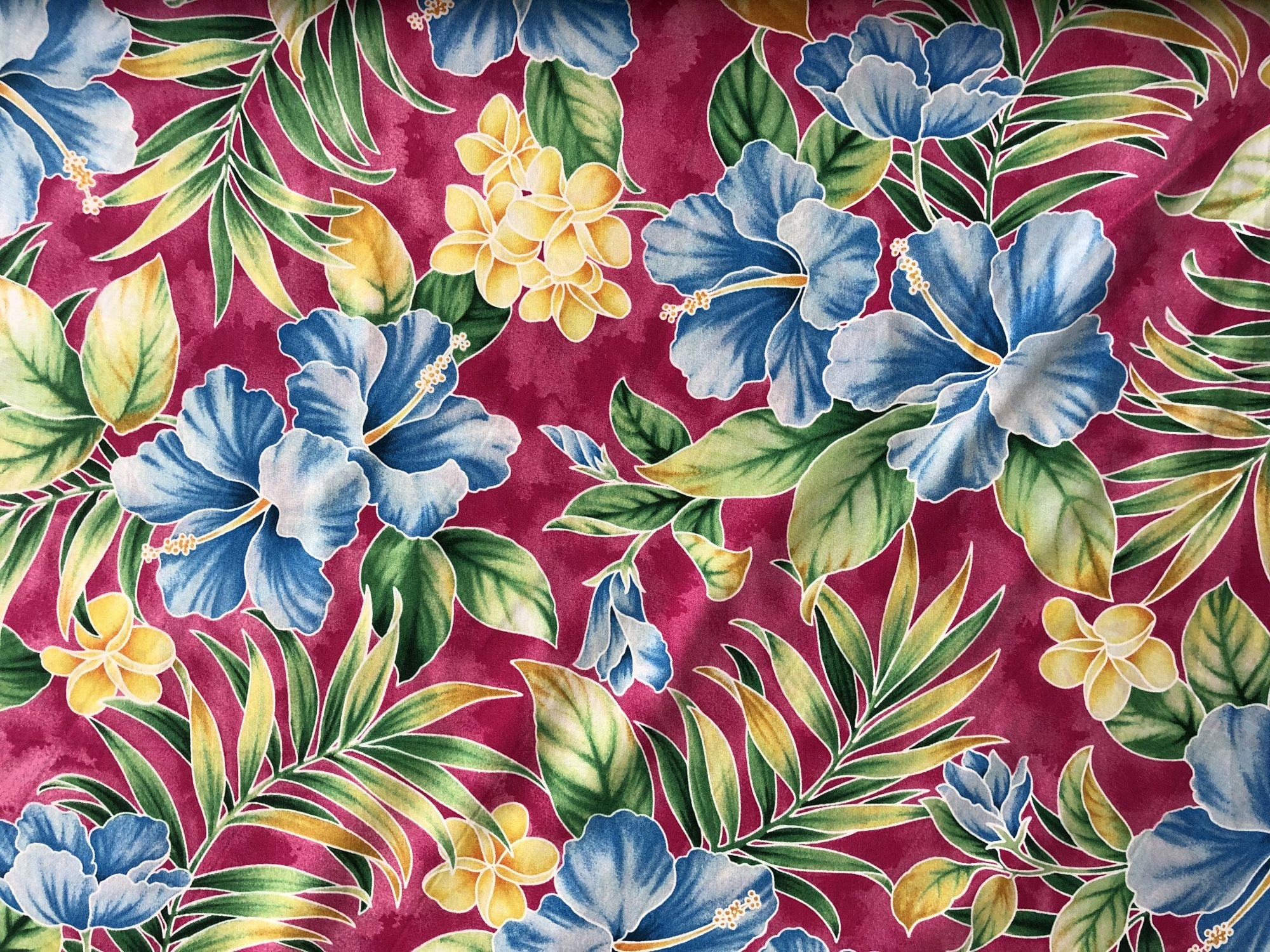 Blue Hibiscus Print on Pink