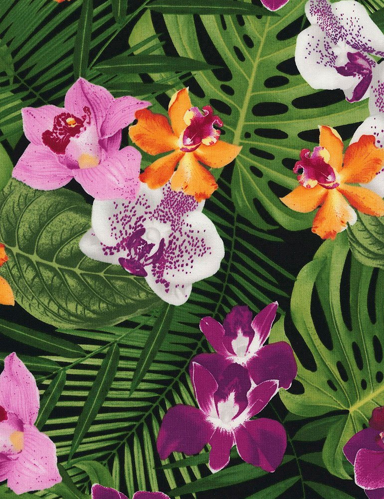 Banana Leaves and Orchids
