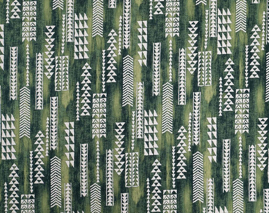 Forest Green Tribal Hawaiian Print