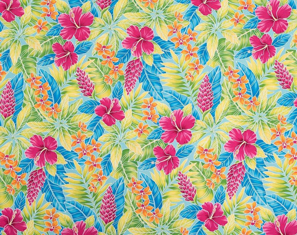 Aqua Hawaiian Floral