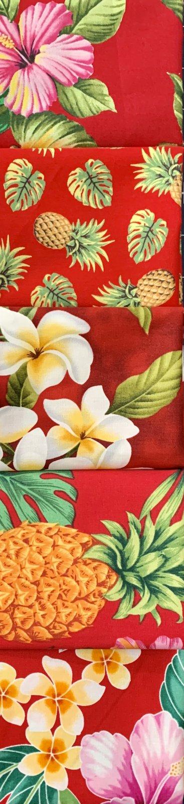 Red Hawaiian Floral Fat Quarter Bundle