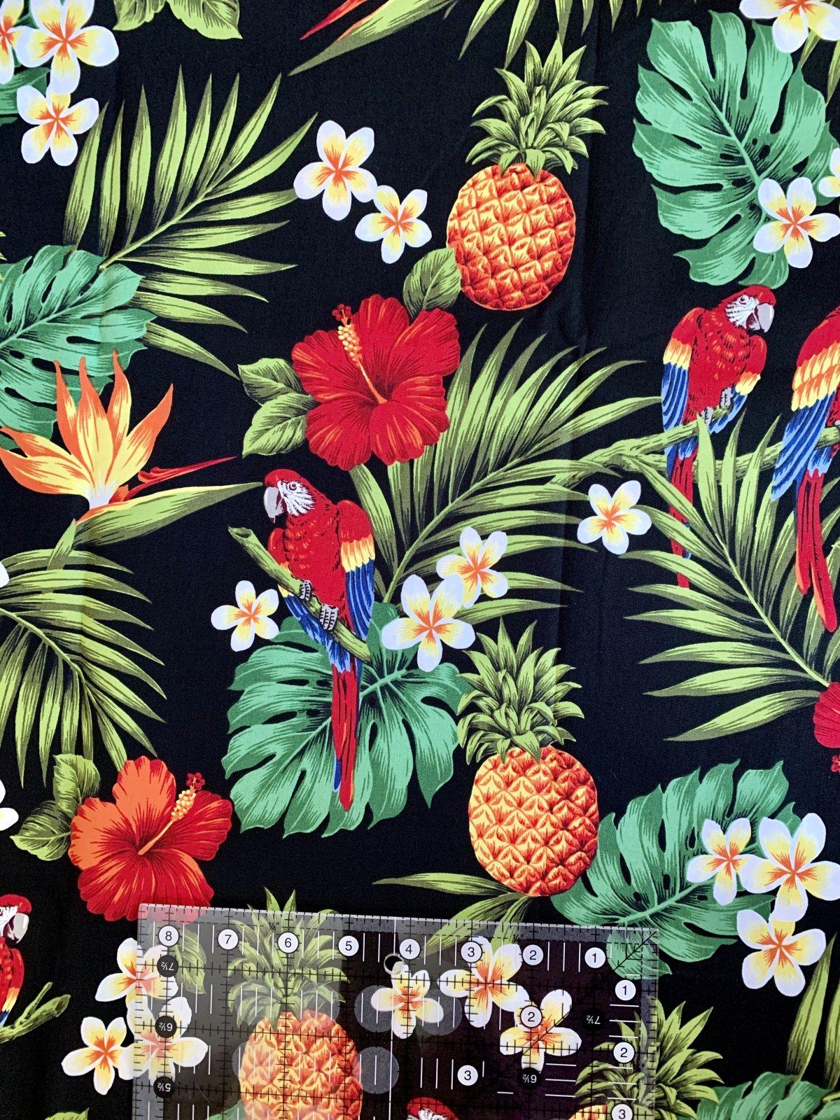 Tropical Parrots on black