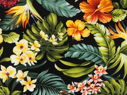 Black Floral Hawaiian Print