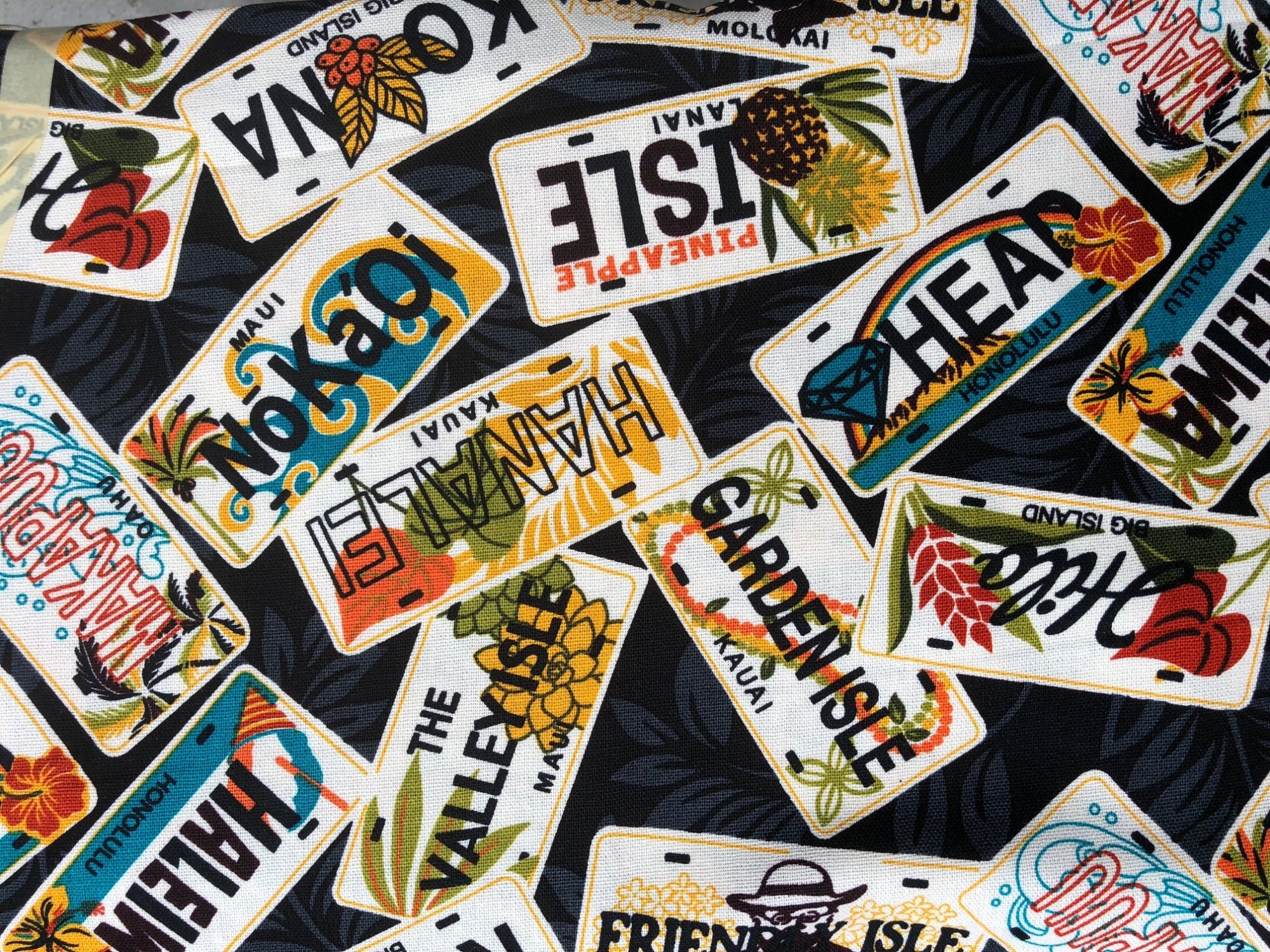 Hawaiian License plates on black canvas