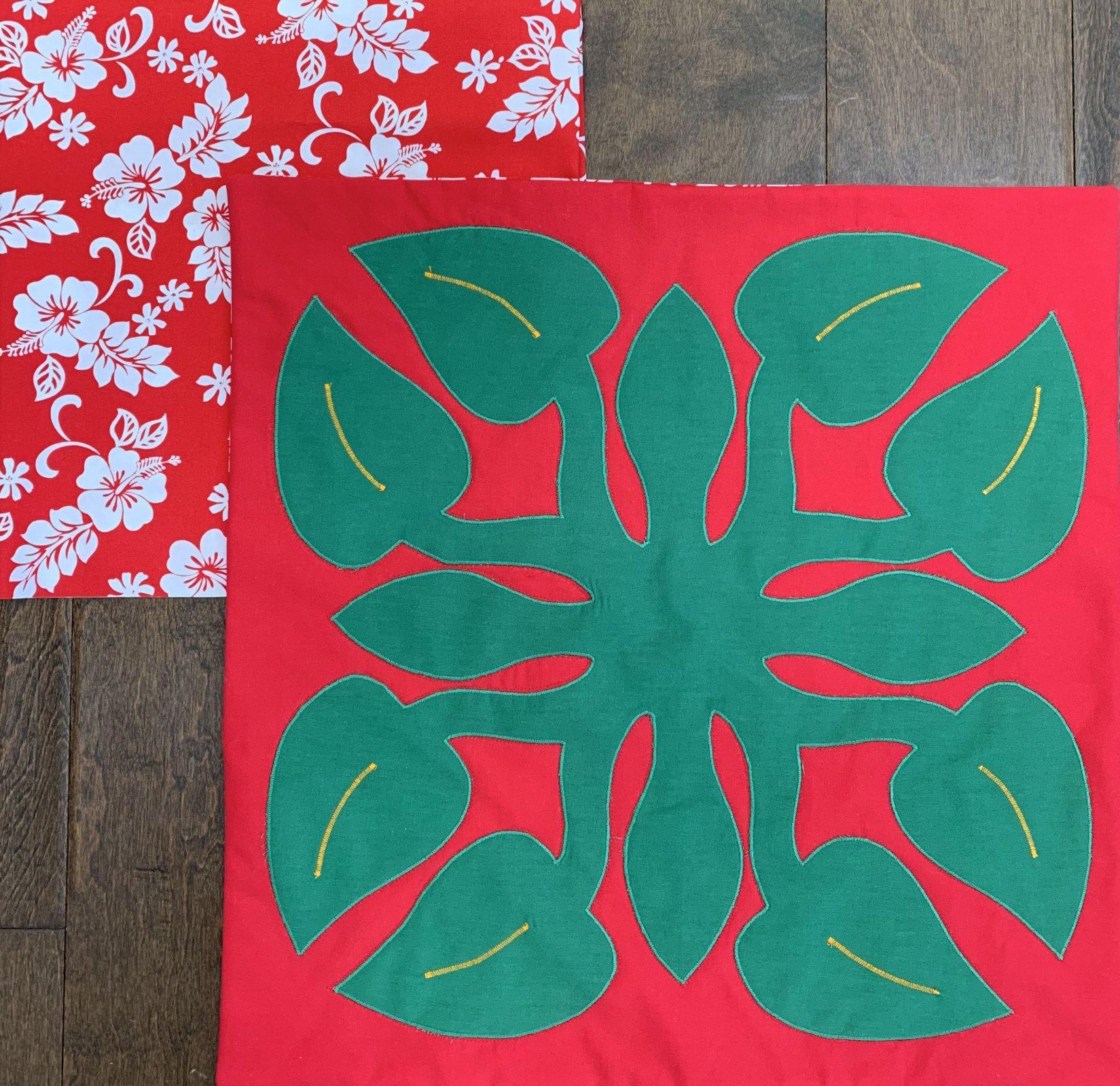 Pre-cut Holiday Anthurium Fusible Applique Pillow kit