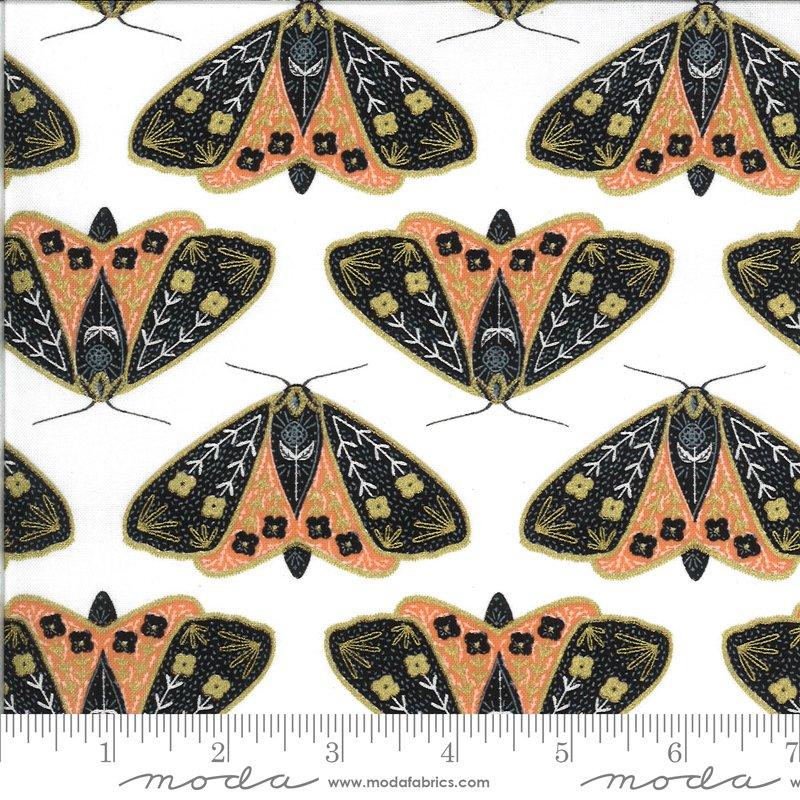 Dainty Moths Ivory Poppy Metallic