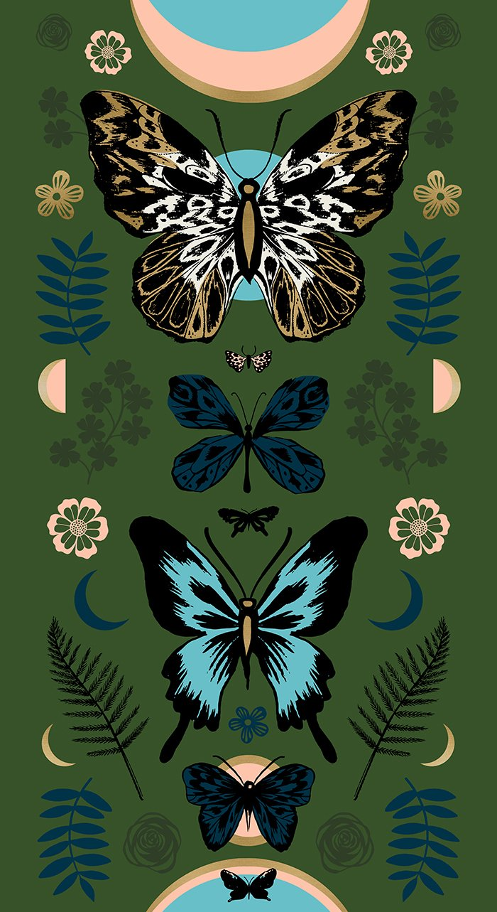TIGER FLY PANEL Sarah Green Metallic