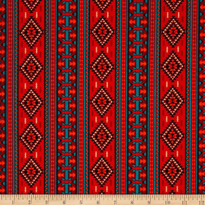 David Textiles - Mystical Native-Ethnic Columns-Rust