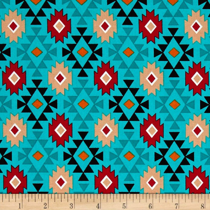 David Textiles - Mystical Native Diamonds-Turquoise
