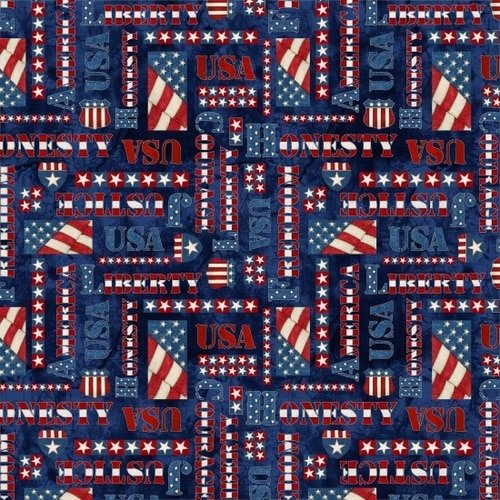 Blank Quilting American Honor -  Words on Blue