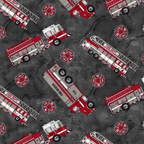 Blank Quilting Thin Red Line Dalmations Charcoal Fire Engines