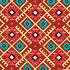 David Textiles - Mystical Native-Aztec Argyle-Rust