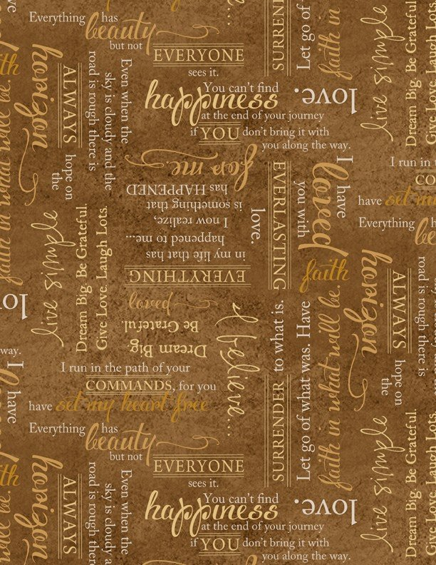 Wilmington Prints - Greener Pastures - Words Brown