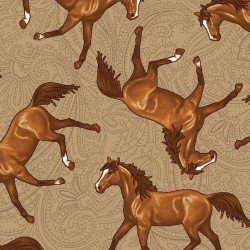 Studio E Hold Your Horses Tossed Horses TAN