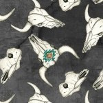 Blank Quilting Home on the Range Cow Skulls Black