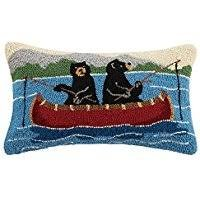 Bear on Canoe Pillow 12X20