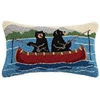 Bear on Canoe Pillow 12X20