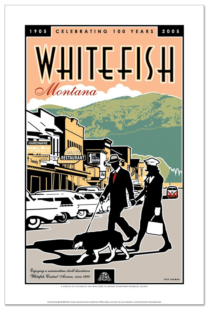 Whitefish Downtown Poster 16 x 24