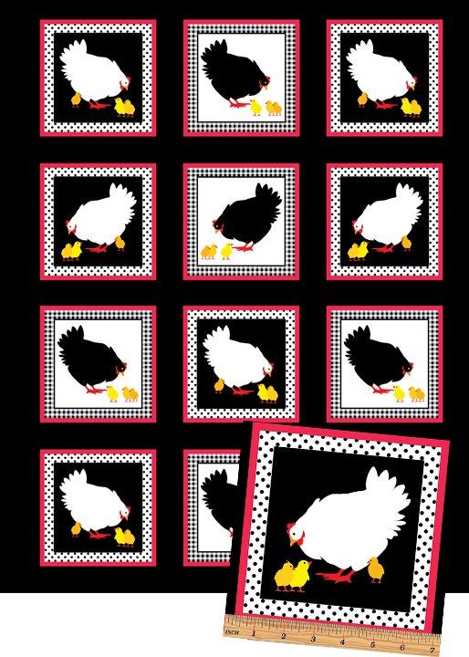 Henrietta Hen - Single Row Panel (5 chickens)