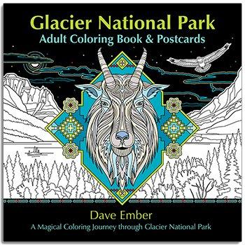 Glacier National Park Adult Coloring Book & Postcards