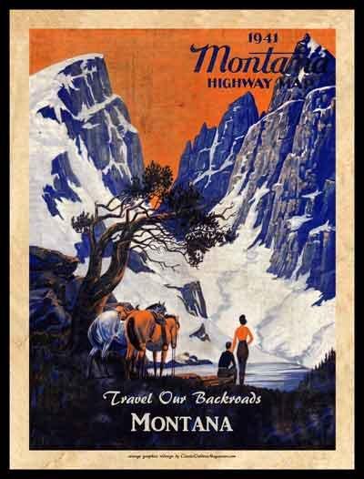Montana Highways Poster 18 x 24 Framed