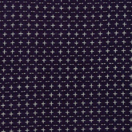 Moda Boro Woven Dark Indigo Sashiko Crosses 12560 37