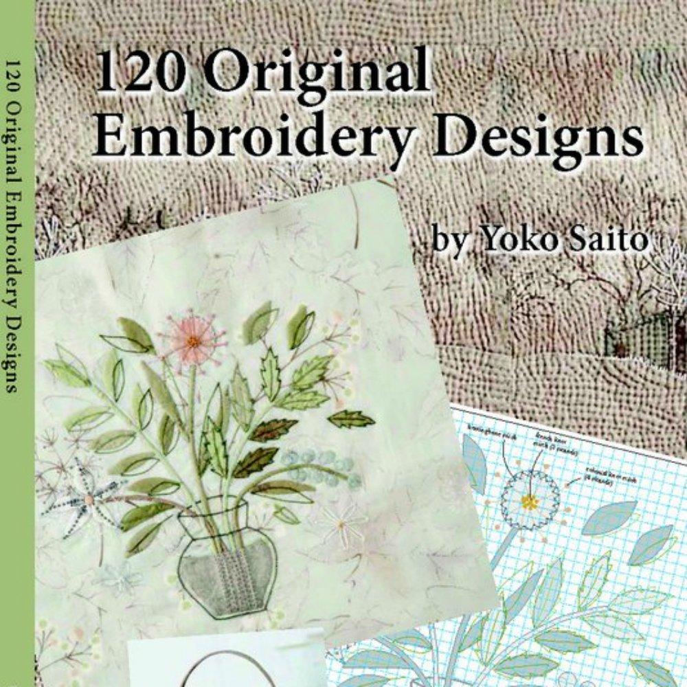 Yoko Saito Book:  120 Original Embroidery Designs - Japanese Taupe Fabric
