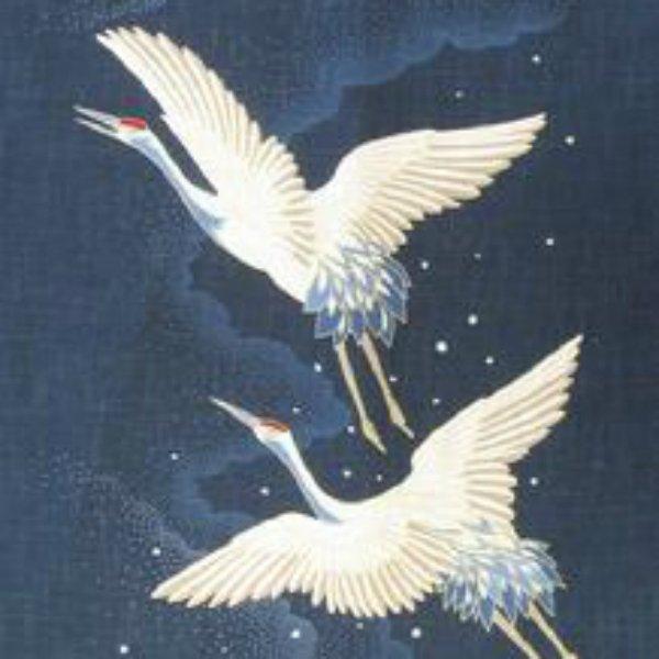 Noren Panel Two Cranes in Flight - Symbols of Longevity