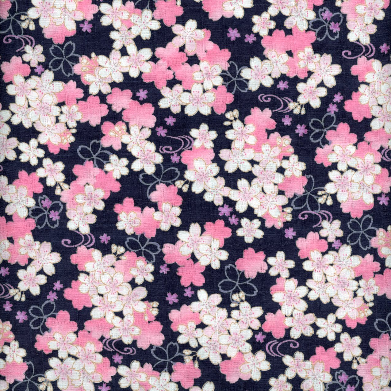 Sakura Cherry Blossom on Navy Dobby Print 301-110-1D