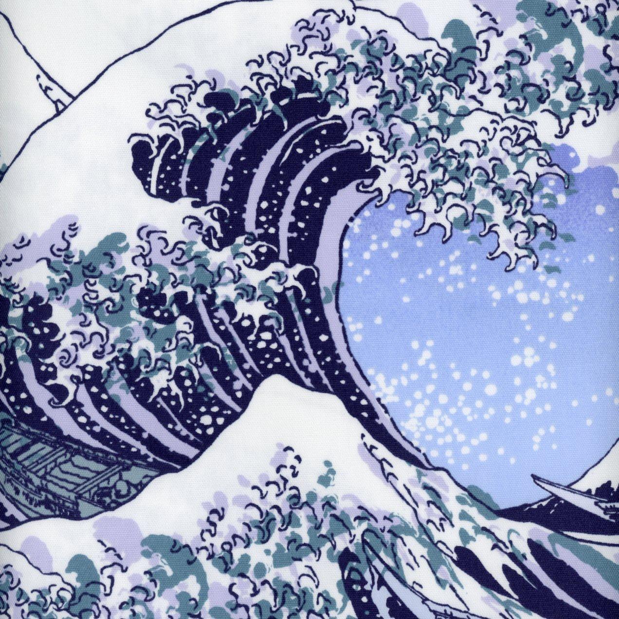 The Great Wave Off Kanagawa Cotton Oxford Print KHFS-06