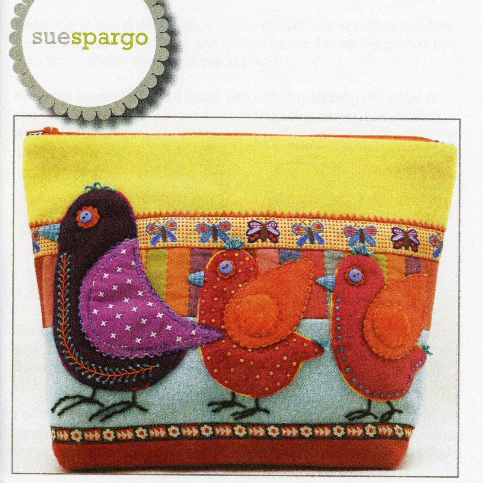 Sue Spargo Pattern Birds on Parade Sac