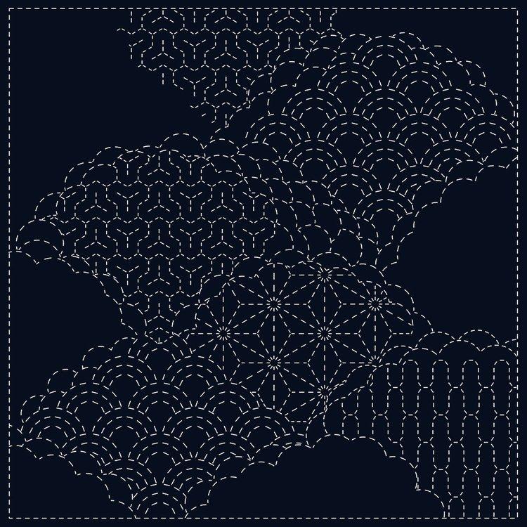 Pre-Printed Sashiko Fabric SC0017-06 Cumulus Cloud