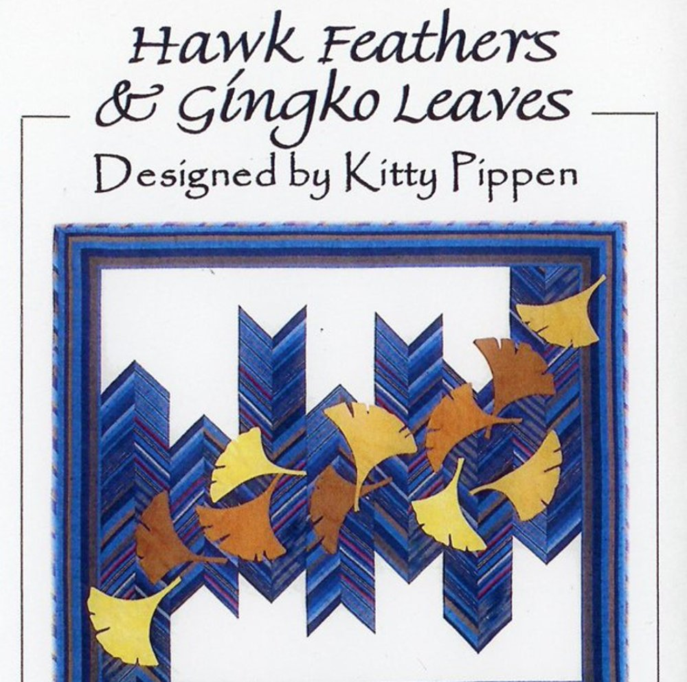 Hawk Feathers & Ginkgo Leaves Wall Quilt Pattern by Kitty Pippen