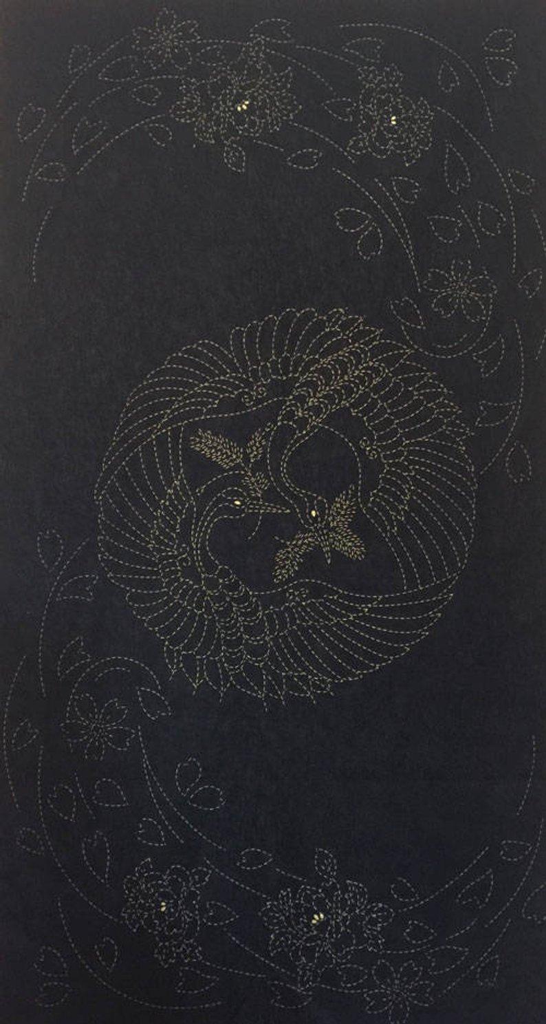 Cranes and Blooms Pre-Printed on Indigo Sashiko Panel Washout