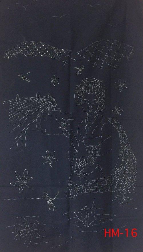 Dragonfly and Iris Pre-Printed on Indigo Sashiko Panel Washout