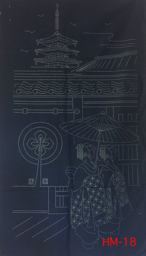 Gion Kyoto Pre-Printed on Indigo Sashiko Panel Washout