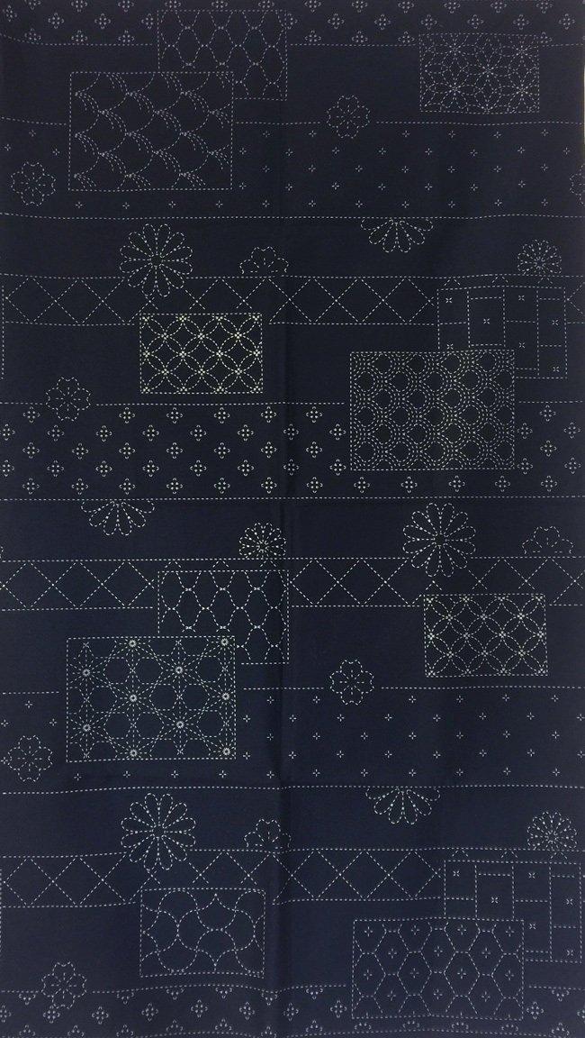 Flowers and Blocks Pre-Printed on Indigo Sashiko Panel Washout