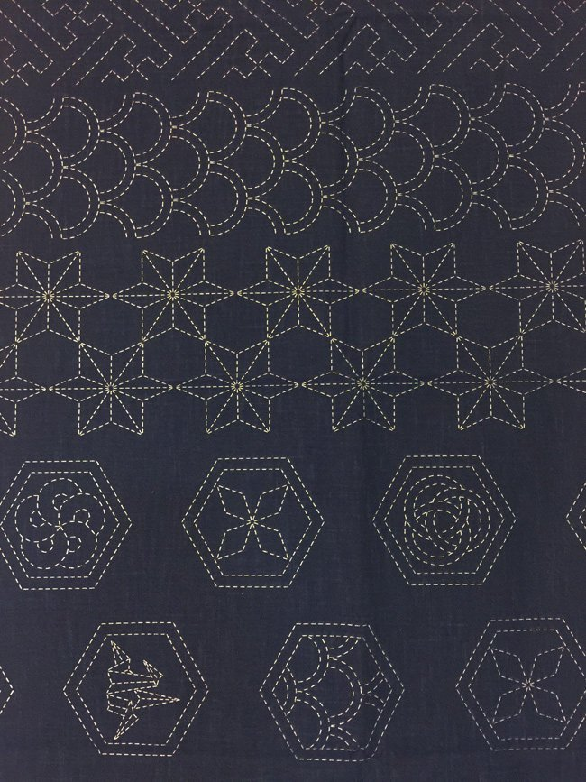 Design Sampler Pre-Printed on Indigo Sashiko Panel Washout HM-21