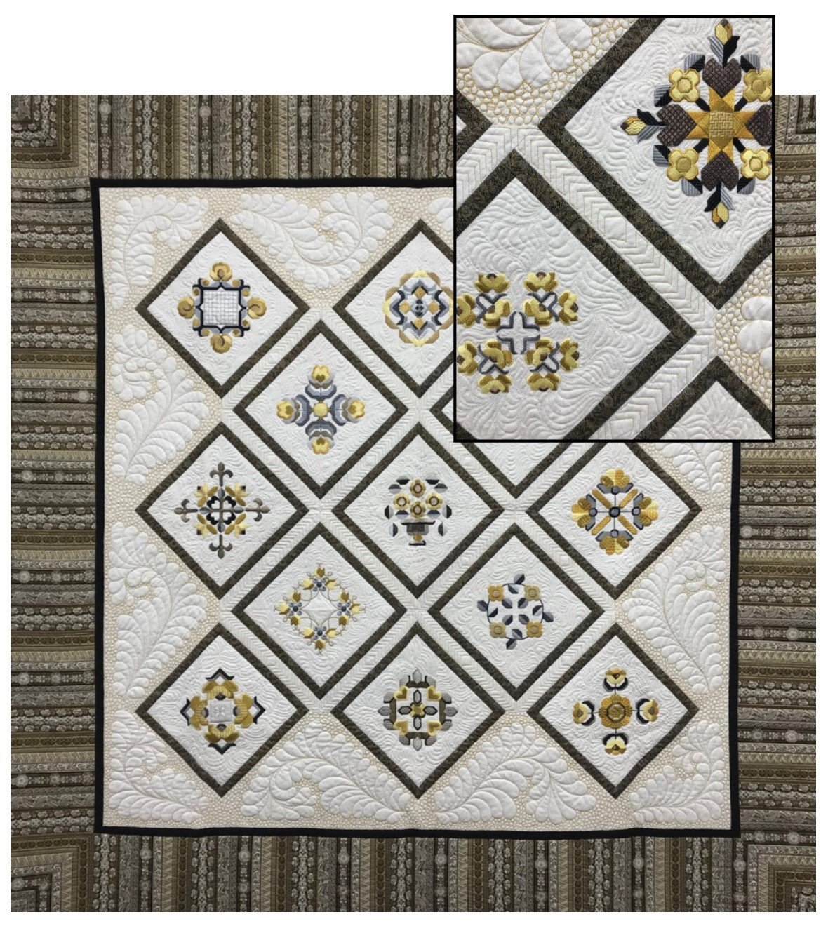 Gold Medallion Baltimore Album Quilt by John James on exhibit at Quilting Foxes, with closeup inset.