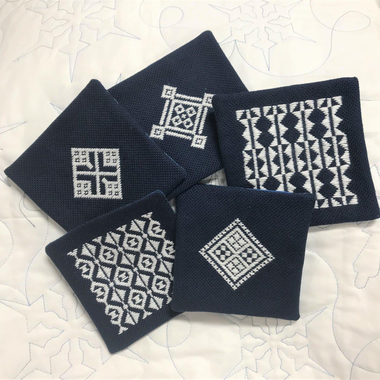 Olympus Kit Kogin 5 Mug Rugs or Coasters in White on Indigo SK-KGN013