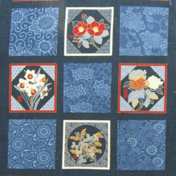 Noren Panel Floral Garden - Use Whole or Cut into Blocks