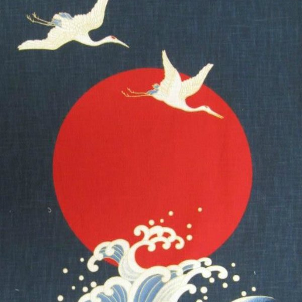 Noren Panel Two Flying Cranes Red Harvest Moon and Sea