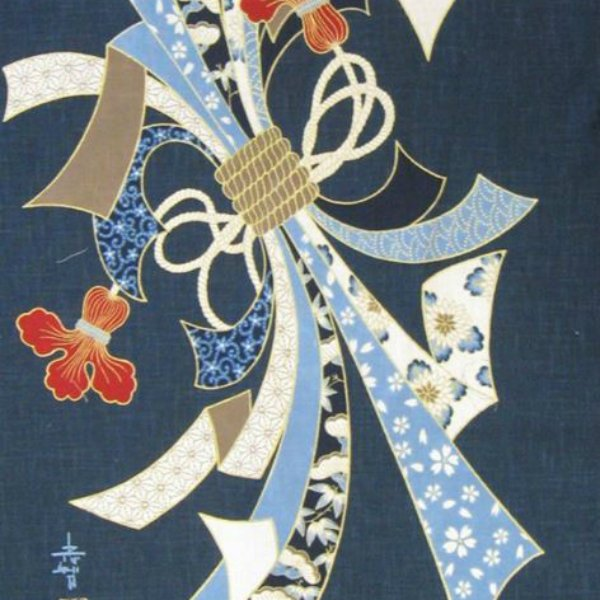 Noren Panel - Noshi Ribbons - Traditional Good Luck Motif - KP-7290-34