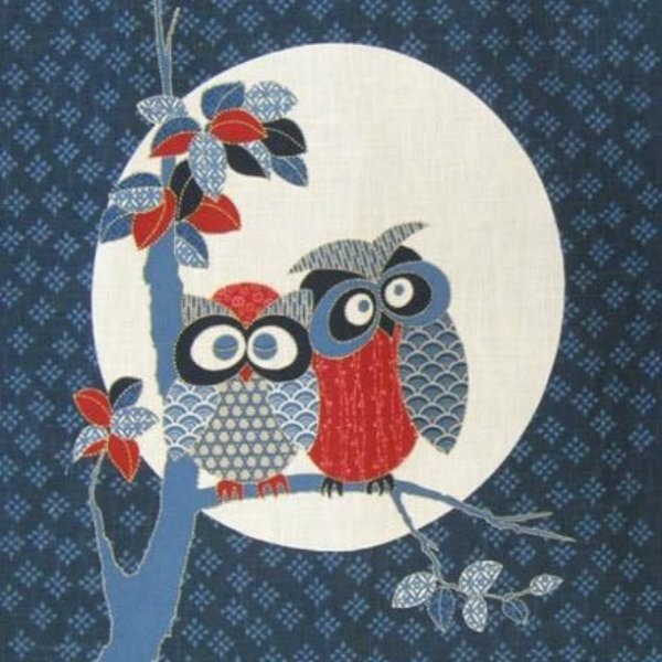 Noren Panel - Two Roosting Owls - Adorable - KP-7290-92